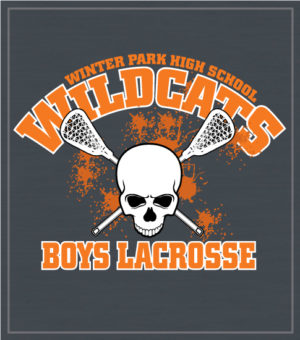 Lacrosse Team Shirt Skull and Crossed Sticks