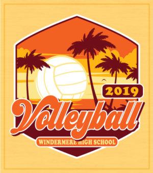 Volleyball T-shirt Sunset