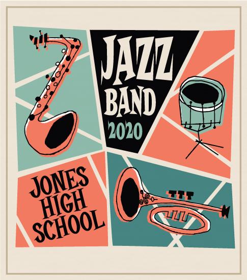 Retro Style Jazz Band T-shirt